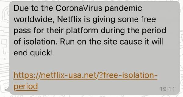 whatsapp scam example netflix coronavirus