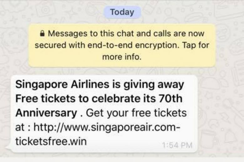 whatsapp scam example singapore airlines