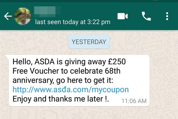 whatsapp voucher scam example